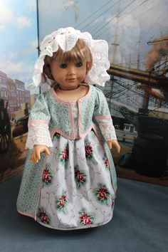 American Girl Doll Clothes -- Colonial Style Informal Frock, Chintz  Skirt and Lace Cap -- C68. $58.00, via Etsy.