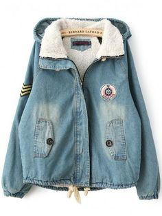 Blue Vintage Wool And Cotton Hooded Denim Jacket With Patch On Chest