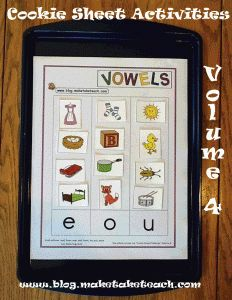Cookie Sheet Activities Volume 4 targets beginning sounds and short vowels!  Great for small group instruction or for literacy centers.  Free templates on the blog!