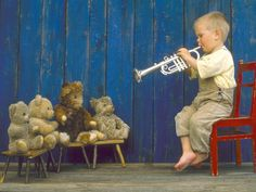 music soothes the savage beast, in this case, teddy bears.