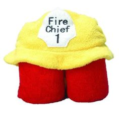 "FIREMAN Hooded Bath Towel Kid's Cotton NEW 27"" X 54"" by pickles"