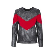 • Leather 'V' Sweater