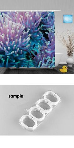 [Visit to Buy] Clownfish Shelters Decor Bathroom Curtain Tropical Coral Reef Shower Curtains Waterproof Mildew Polyester Fabric With Hooks #Advertisement