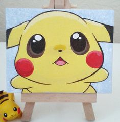 Hugs For Pikachu? by Jennifairyw on DeviantArt Small Canvas Paintings, Easy Canvas Art, Small Canvas Art, Cute Paintings, Mini Canvas Art, Pokemon Painting, Cartoon Painting, Pikachu, Disney Canvas Art