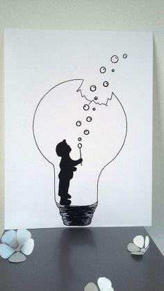 """Affiche Illustration Noir et blanc ampoule """" la force de l'enfance """" : Affiches, illustrations, posters par stefe-reve-en-feutrine #LampIllustration"""