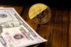 gold symbol bitcoin with dollar