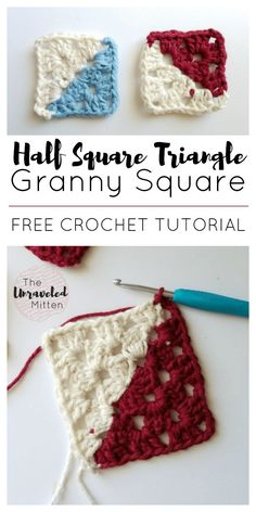 Half Square Triangle | Granny Square | Free Crochet Tutorial | Step by Step Instructions | The Unraveled Mitten