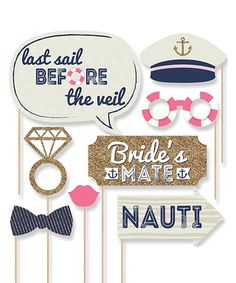 $15.99 marked down from $24.99! Last Sail Before the Veil 20-Piece Photo Prop Set #bachelorette #party #props #photos #nautical #zulilyfinds
