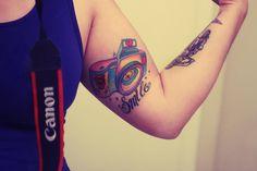 Smile Camera Tattoo On Muscle : Camera Tattoos Camera Tattoo Design, Camera Tattoos, Tattoo Photography, Photography Camera, Aperture Tattoo, Camera Aperture, Just Smile, Tattoo Inspiration, I Tattoo