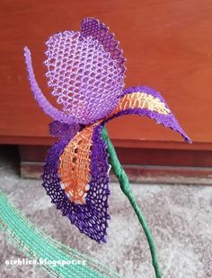 Bobbin Lace Iris Bobbin Lace, Crochet Earrings, Lily, Bobbin Lacemaking
