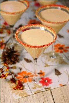 Pumpkin Martini: pumpkin liquor, vanilla vodka and baileys/ equal parts with pumpkin pie spice or cinnamon on top