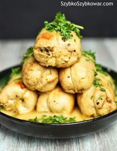 Chicken breasts stuffed with mushrooms (in Polish) Mushroom Stuffed Chicken Breast, Mushroom Chicken, Stuffed Mushrooms, Polish Recipes, Polish Food, Group Meals, Pressure Cooking, Popular Recipes, Catering