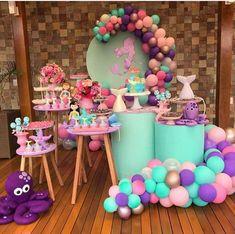 Ballon Decorations, Mermaid Party Decorations, Birthday Party Decorations, Baby Shower Decorations, Birthday Parties, Little Mermaid Birthday, Little Mermaid Parties, Fruit Birthday, Snow White Birthday
