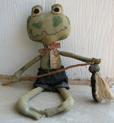 FTFD 1  Gone Fly Fishin' Froggy - Primitive Rag Doll e-pattern