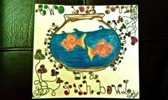 """Two lost souls swimming in a fish bowl"" painting"
