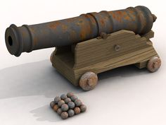 Rusty, weathered pirate cannon, complete with carriage and cannon ...