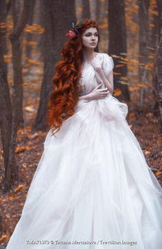 Tatiana Mertsalova FANTASY WOMAN WITH RED HAIR IN FOREST Women