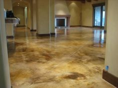 Stained concrete: we'll see it a lot. Basement floor- stained/polished concrete to look like marble. Painted Concrete Floors, Painting Concrete, Stain Concrete, Cement Floors, Acid Stained Concrete Floors, Concrete Acid Stain Colors, Floor Painting, Painting Doors, Plywood Floors