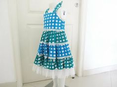 Sewing Patterns for Girls Dresses and Skirts: Sewing Pattern Tiered Polka Dot Dress (pdf pattern for sale)