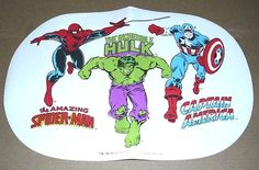 Rare Vintage Original Old 1990 Marvel Comics Universe Superheroes 17 1/2 x 11.5 Inch PVC Table Placemat: Spider-man/Captain America/Incredible Hulk/John Romita Art... $39.99