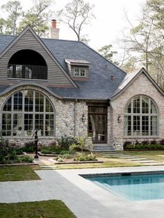 Wilding - traditional - exterior - houston - Thompson Custom Homes Style At Home, Old Style, Traditional Exterior, Stone Houses, Stone Cottages, Exterior Design, Stone Exterior, Exterior Siding, Exterior Colors