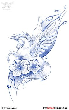 Winged horse tattoo design