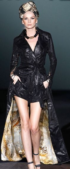 This glamorous outfit - long coat over short skirt - will gain you all sorts of interesting attention.