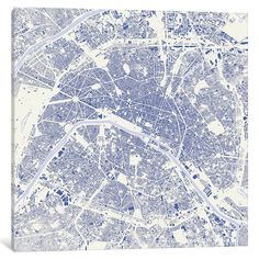 Paris Urban Map Graphic Art on Wrapped Canvas in Blue