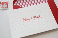 love these Letterpress Holiday Cards  Merry & Bright Card Set by Honizukle