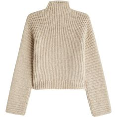Rosetta Getty Turtleneck Pullover (16 645 ZAR) ❤ liked on Polyvore featuring tops, sweaters, beige, sweater pullover, cropped pullover sweater, beige top, turtle neck top and beige sweater