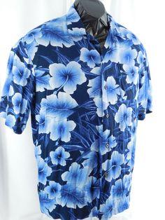 d0ca3a633 George Blue Large 42-44 Blue Hawaiian Print Shirt Men s 100% Rayon   Caribbean