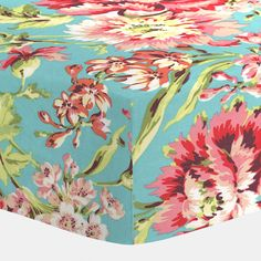 Coral and Teal Floral Crib Sheet | Fitted Crib Sheet | Carousel Designs