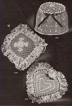 Vintage Crochet PATTERN 3 Pin Cushion Pincushion Heart 3Pincushions