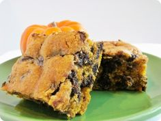 Pumpkin Chocolate Chip Cookie Bars: I followed this recipe except for one change & one small omission - I left out allspice (didn't have it) &, here comes the amazing part, left out the butter ENTIRELY & used 1/2 cup strained unsweetened applesauce + 1 TB oil and...STILL AMAZING! Who knew you could substitute ALL the butter out of a baking recipe with pureed fruit?!? (1/2 cup strained applesauce + 1 TB oil = 1 cup butter)