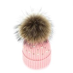 c268002327cd8 Knit hat with multicolor faux-fur pom-pom   FactoryWomen Gloves   Mittens