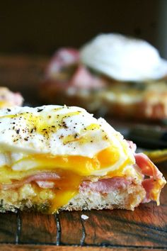 Croque monsieur with poached eggs, yummy!