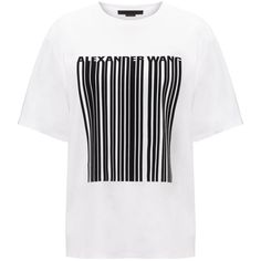Alexander Wang White Bonded Barcode T-Shirt (770 BRL) ❤ liked on Polyvore featuring tops, t-shirts, shirts, tees, white, round neck t shirt, white cotton shirt, white cotton t shirts, cotton t shirt and t shirts