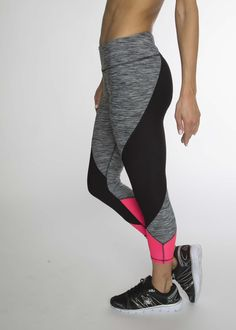 Elevate your workout in these color-blocked geometric leggings. The capri length is the perfect fit for any height. Be irritation free with flat lock stitching when you start to heat things up.