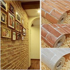 Rustic Vintage Vinyl 3D Effect Retro Embossed Red Brick Wall Wallpaper white