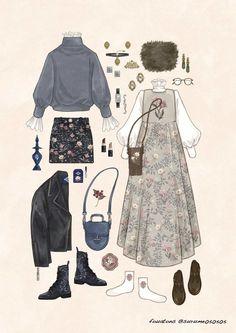 fouatons on - Kleidung 2019 Vintage Fashion Sketches, Fashion Design Drawings, Illustration Mode, Illustrations, Anime Outfits, Cute Outfits, Kleidung Design, Vintage Outfits, Estilo Lolita