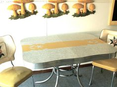 Vintage Yellow And Gray Formica And Chrome Kitchen Table And Two Chairs