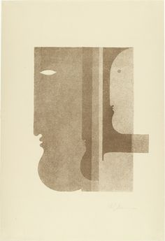Oskar Schlemmer (German, 1888–1943) Two Profiles to the Left, One to the Right (Zwei Profile nach links, eines nach rechts) from Play on Heads (Spiel mit Köpfen