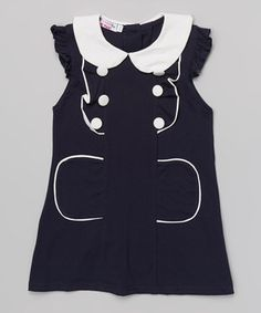 This Navy & White Peter Pan Collar Dress - Toddler & Girls by Di Vani is perfect! #zulilyfinds