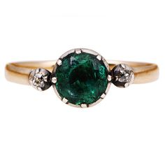 If it weren't so expensive :( Made in 1820!!! Georgian Era Emerald Diamond Platinum Ring | From a unique collection of vintage engagement rings at https://www.1stdibs.com/jewelry/rings/engagement-rings/