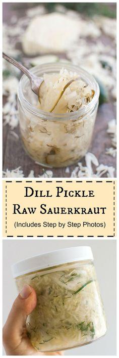 Dill Pickle Raw Sauerkraut recipe #probiotic  #realfood