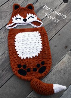 Crochet Fox Baby Infant Cocoon and Hat Photo Prop Outfit Crochet Baby Cocoon, Crochet Fox, Crochet Bebe, Baby Blanket Crochet, Crochet For Kids, Crochet Hats, Baby Cocoon Pattern, Fox Hat, Baby Swaddle