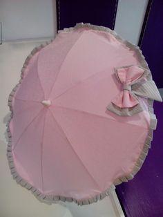 bebeteca.Sombrilla en precioso piqué cachemir rosa.bebetecavigo.