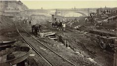 Construction site to the west of Waterloo Bridge, 15 Victorian Photos Of The London Underground Being Built Victorian London, Victorian Photos, Vintage London, Old London, Victorian Era, Edwardian Era, London Docklands, London Pictures, London Photos