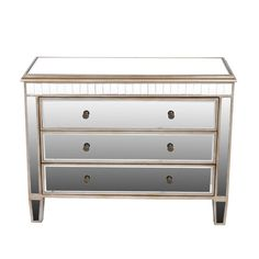 Superbe Privilege 3 Drawer Accent Mirror Chest Mirrored Table, Mirrored Furniture,  Dining Room Storage,