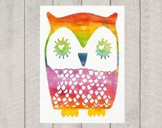 Nursery Art Print - Rainbow Owl - 8x10. $15.00, via Etsy.